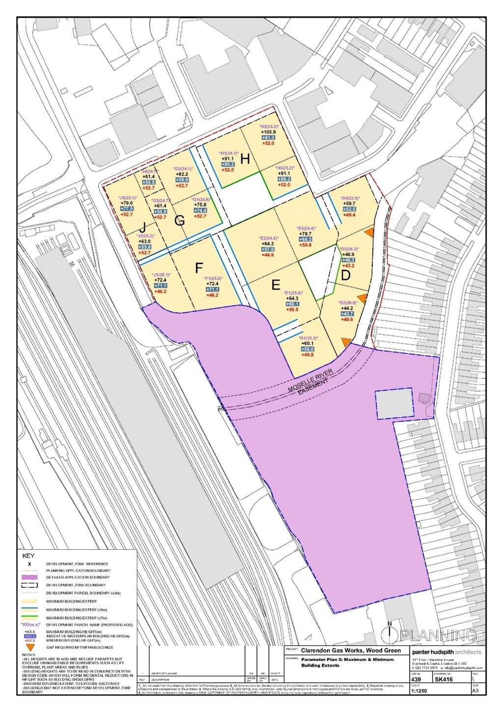 between Development Zone D and the rear gardens of properties 63 155 Hornsey Park Road.