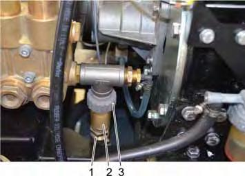 11.9.3 Cleaning the fine filter 1 Union nut water hose 2 Fine filter 3 Lock nut