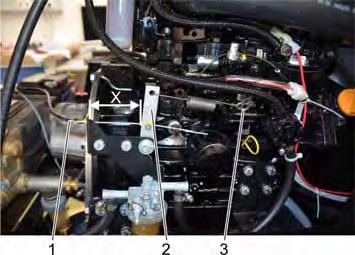 11.9.5 Replacing wear parts of the overflow device 1 Bowden cable from the piston to the high-pressure pump 2 Deflection 3 Speed control motor If