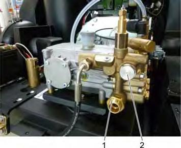 1 Banjo bolt pressure side 2 Banjo bolt bypass Evenly unscrew the banjo bolts on the overflow valve and remove the overflow valve.