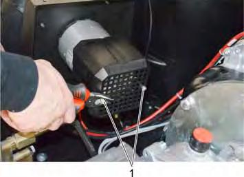 11.11.4 Motor burner blower: Changing the carbons 1 Nut Disconnect battery. Loosen 2 nuts.