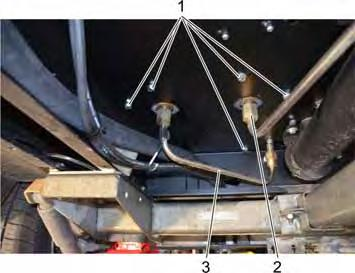 View from below 1 Screw 2 High-pressure line from the booster heater to the highpressure connection 3 High-pressure line from the safety block to the boiler Dismantle
