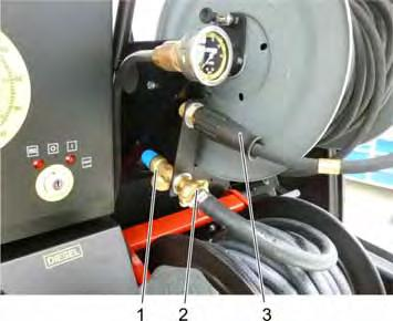 2 Dismantling the pressure gauge 1 Screw connection 2 Manometer Disconnect the screw connection.