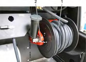 9.9 Water inlet Low-pressure hose drum 1 Water supply hose 2 Brake lever Connection to an external water supply is established by means of the water supply hose DN19, connection, max.