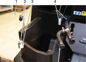 In the lower area of the float container the sensors for the filling level monitoring (empty message) and water temperature are mounted onto a joint holder.