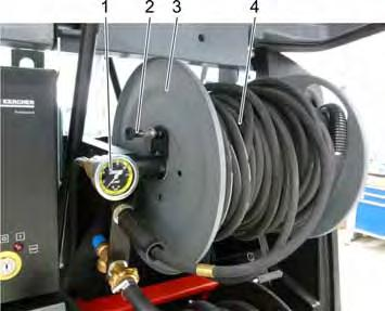 9.21 High pressure connection 1 Manometer 2 Catch high-pressure hose reel 3 High-pressure hose drum 4 High pressure hose There is also equipment without a high-pressure hose reel.