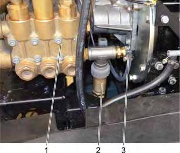 "Detergent dosing valve 1 Connection from the detergent tank (labelled with ""1"") 2 Connection to the pump (labelled with ""P"") Solenoid valve dosing detergent 1 Motor flange 2 Connection from the"
