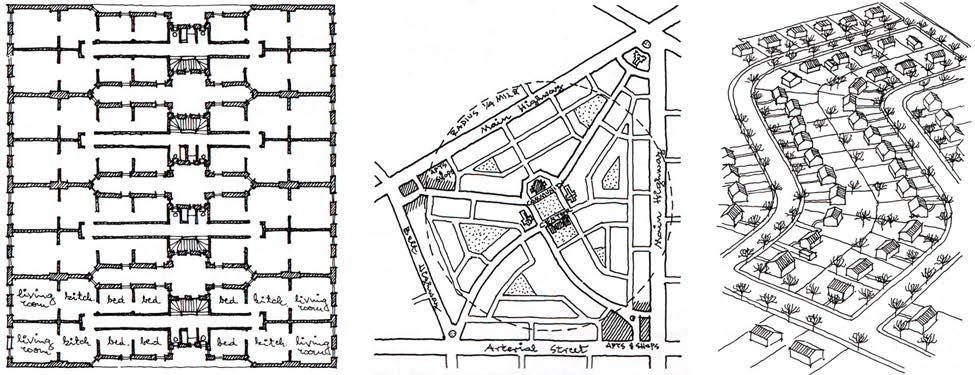 Image 8: Plan of a typical New York City working class tenement building (left); diagram of the neighborhood unit as conceived by urban designer Clarence Perry (center); and view of sprawl resulting