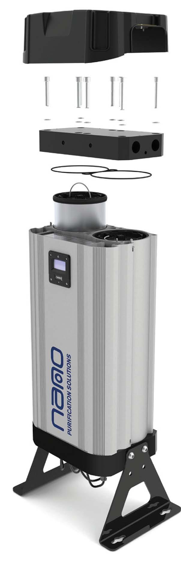 -Series nano dryers 1 & 2 in detail Patented combined filter & desiccant cartridges Water separation, inlet and outlet filtration and desiccant are all integrated into a single cartridge (eliminates