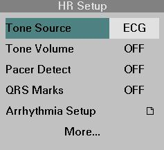 Pulse Tone Source ECG MONITORING SETTINGS You can select either ECG or SpO 2 as the pulse tone source.
