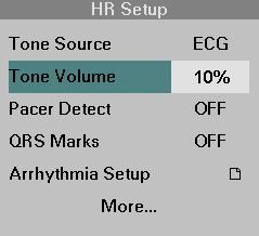 8 ECG AND HEART RATE Pulse Tone Volume When ECG is selected as the pulse tone source, the monitor emits a tone every time it detects a QRS complex.