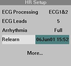 9 ARRHYTHMIA STEPS: Relearning the Patient s ECG 1. Make sure that the ECG lead wires are properly connected and that the ECG displayed seems normal for this patient. 2. Click on the HR parameter box.