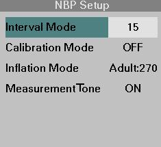 NBP MEASUREMENTS STEPS: Taking NBP Interval Measurements 1. Press and hold the NBP Start/Stop key, or 1. Click on the NBP parameter box. 2. Click on Interval Mode. 3.