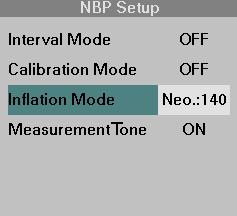 NBP MEASUREMENTS STEPS: Selecting the Inflation Mode 1. Click on the NBP parameter box. 2. Click on Inflation Mode. 3. Select the desired inflation mode and click the knob.