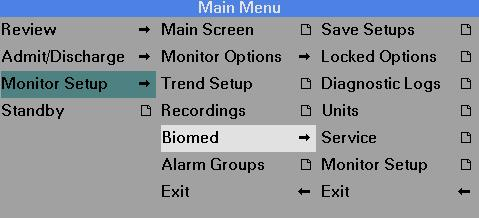 C DEFAULT SETTINGS AND BIOMEDICAL SUPPORT Biomed Menu The Biomed menu gives you access to basic setup and maintenance tasks. The Biomed and the Service menus are password-protected.