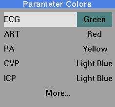 BIOMEDICAL SUPPORT 7. Click on the desired parameter, select the color and click the knob again. 8. To call up additional parameters, click on More.