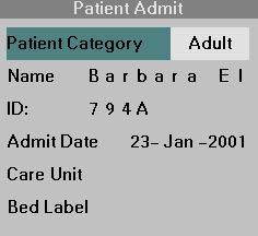 4 ADMISSION/DISCHARGE/TRANSFER Patient Category NOTE: The currently selected patient category is indicated between the first and second waveform channels next to the parameter boxes.