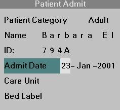4 ADMISSION/DISCHARGE/TRANSFER Admit Date STEPS: Entering the Admit Date 1. Call up the Patient Admit menu (Menu > Admit/Discharge > Patient Admit, see above). 2. Click on Admit Date.