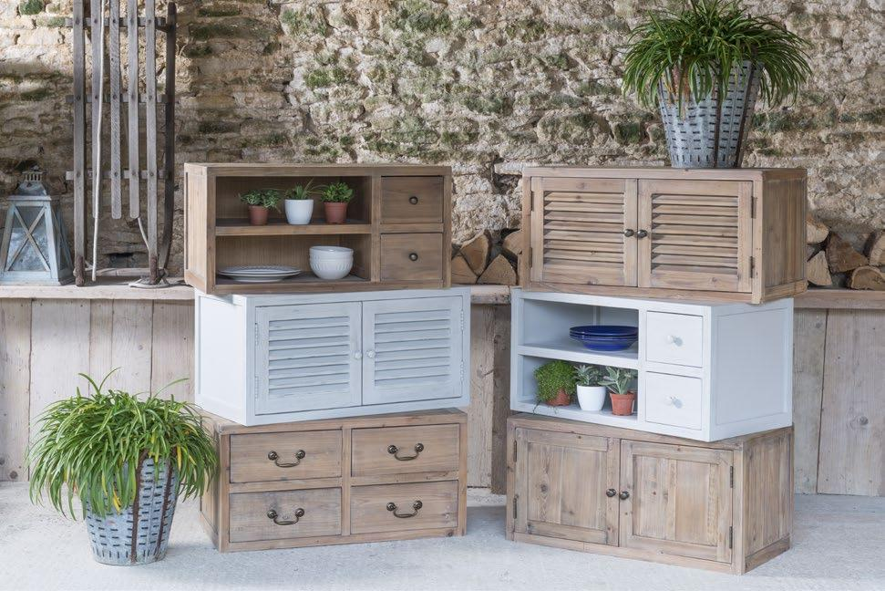 BORDEAUX DINING RANGE Available in both plain pine and painted finish 4 Drawer Stacking Cabinet H:40 W:80 D:42 2 Shutter Door Stacking Cabinet H:40 W:80 D:42 Small Sideboard H:85 W:109 D:40 Small