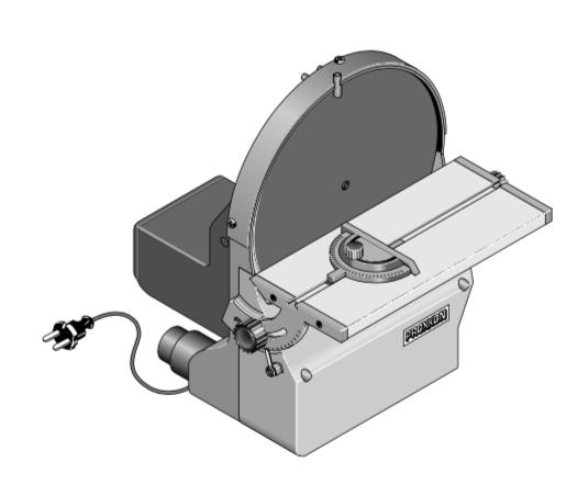 DISC SANDER Sanding of long edges, end sections, radii, miters or accurate flat surfaces at right angles on materials as wood (both soft and hard), plates, non-ferrous metals or steel, even plastic,