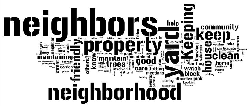 Figure 3. Word cloud responses to the question, Do you have stormwater problems on your property?