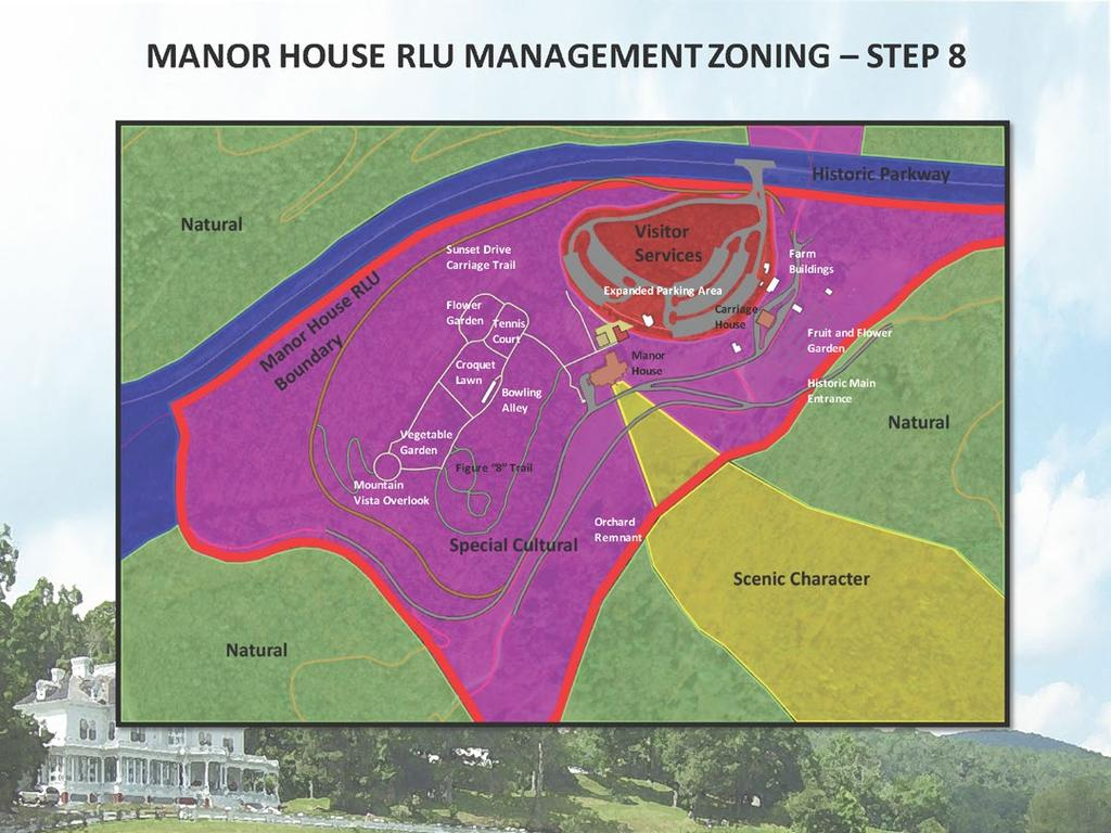 MANOR HOUSE RLU MANAGEMENT ZONING STEP 8 Based on all of the inventory, mapping and analysis that went to the DAMP, this graphic illustrates the approved onthe-ground plan for the Manor House RLU.