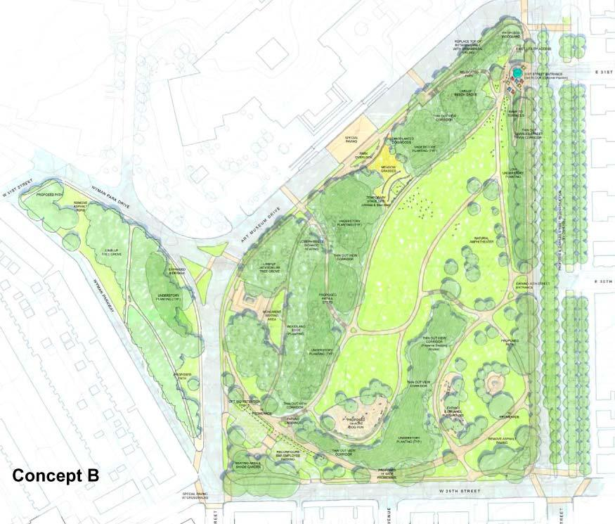 CONCEPT B Overview: Concept B illustrates additional ideas for the West Crescent, the slope in front of the BMA and the North Gateway, in addition to showing how a fenced dog park might work within
