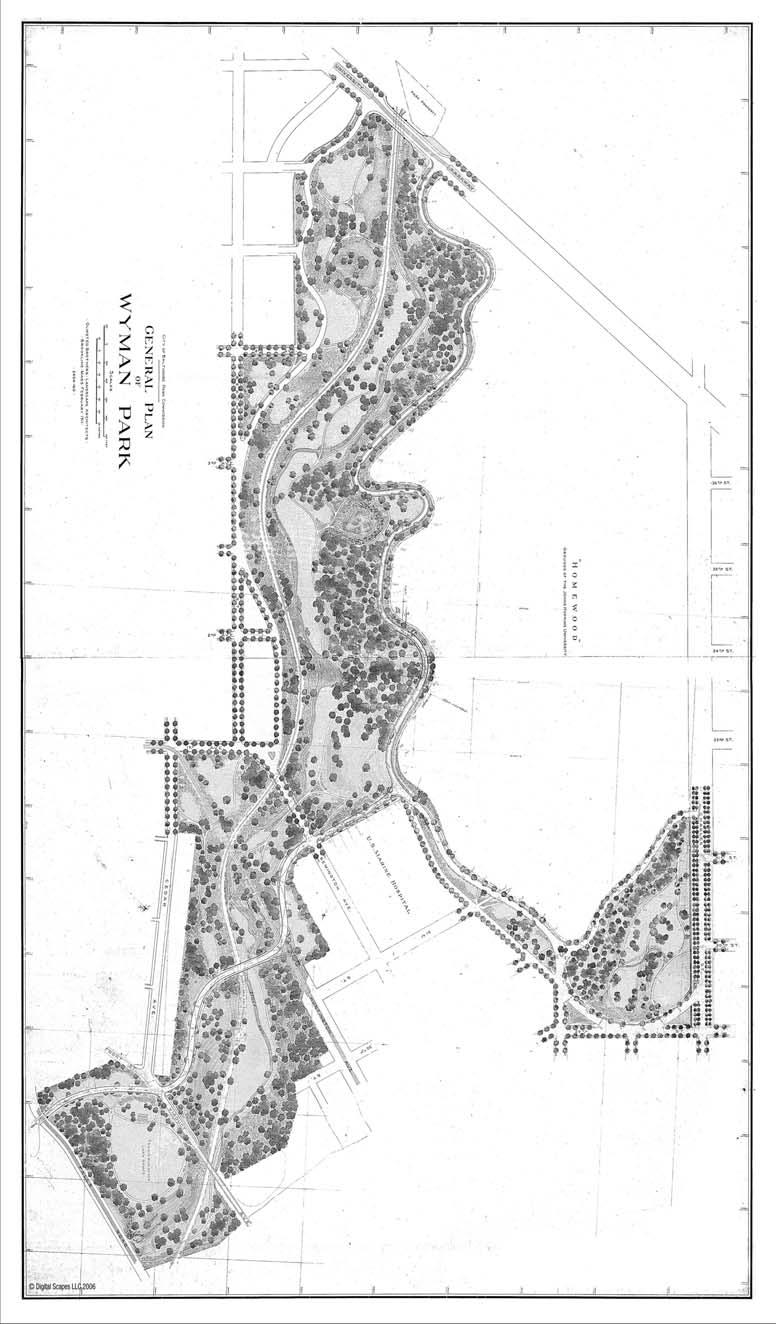 Digital Scapes LLC 2006 Olmsted Brothers 1911 Master Plan for Wyman Park, showing the Dell in context with the