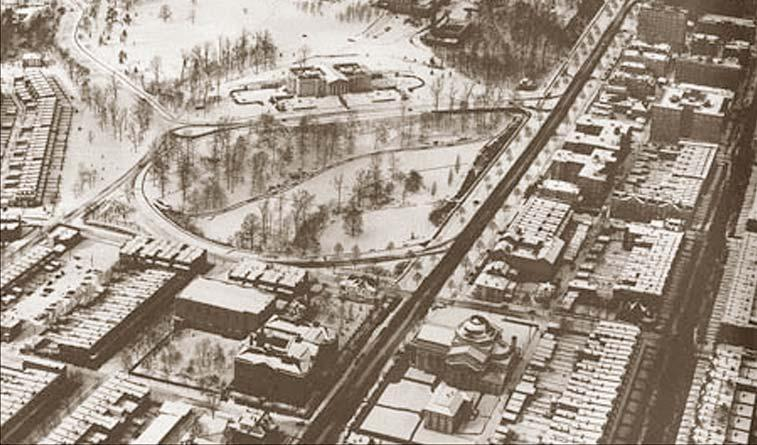 Aerial view of the Dell around, circa 1933.