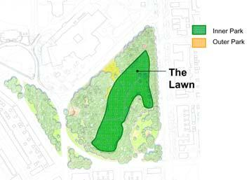 The Lower Lawn Assesment: Following are the key physical assets and liabilities related to the Lower Lawn area: Assets - Graceful, sweeping form - Illusion of extending beyond the park itself -