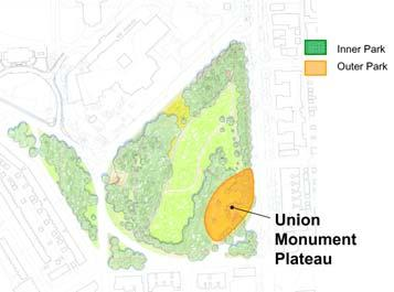 Union Monument Plateau Assessment: Following are the key physical assets and liabilities related to the Union Monument Plateau: Assets: - Fairly level area at street grade ideal for events - Union