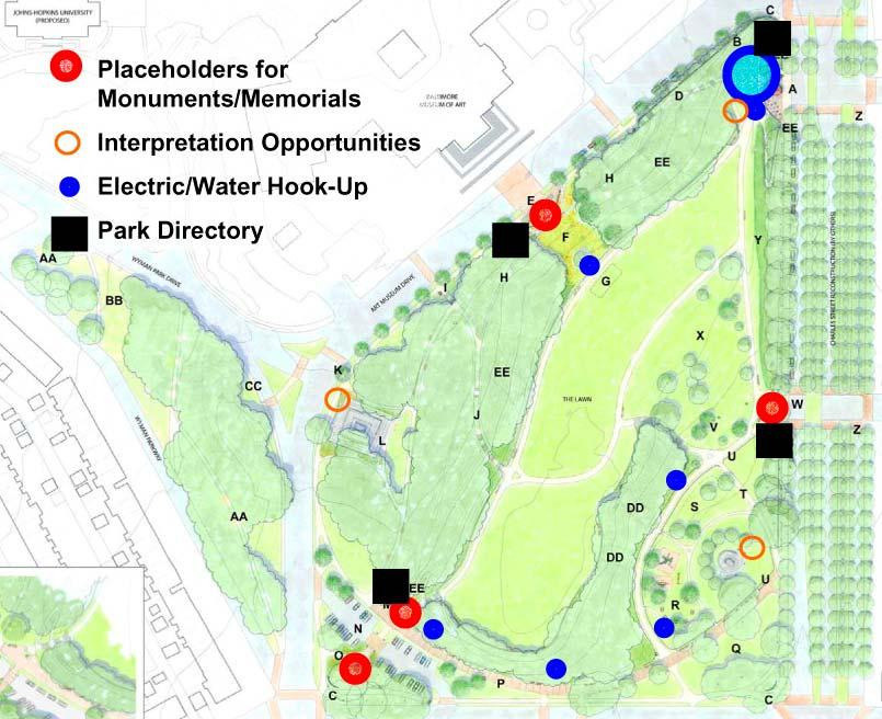 The following guidelines should be considered when proposals are reviewed for Wyman Park Dell: Memorial tree plantings should be restricted to areas of the park where tree planting is included as