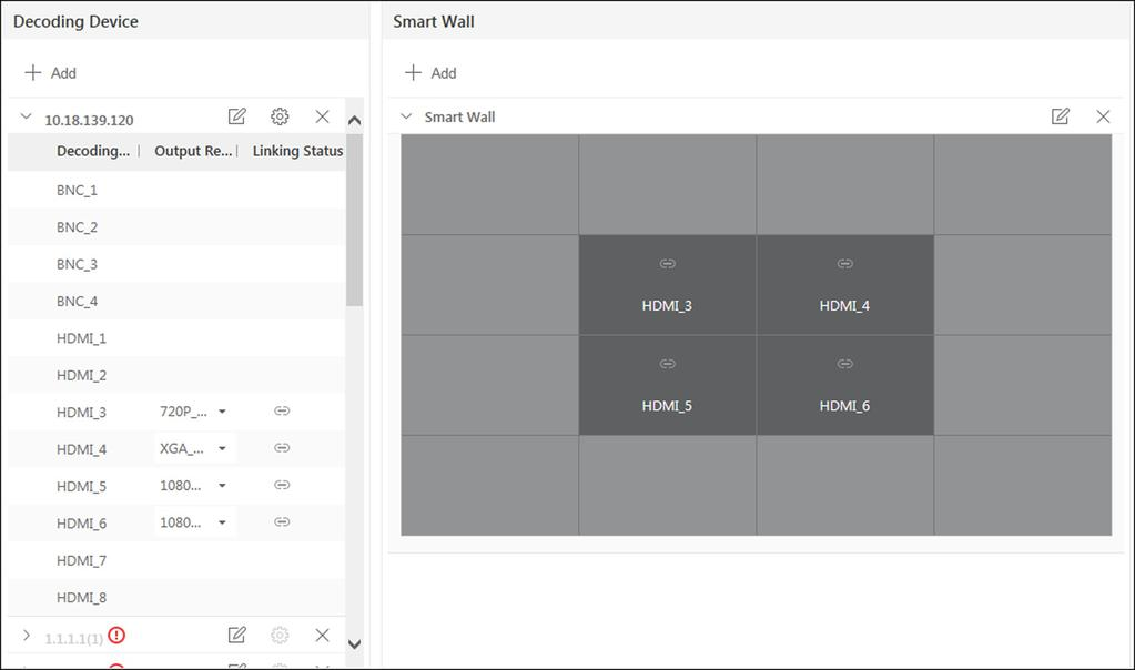 4. Drag the decoding output from the Decoding Device panel to the display window of the smart wall, to configure the