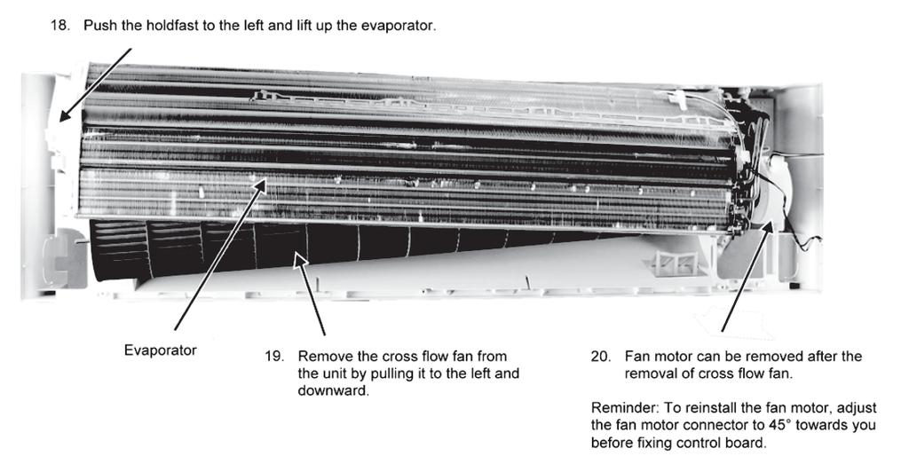 9. Push the holdfast to the left and lift up the evaporator. Evaporator 20.