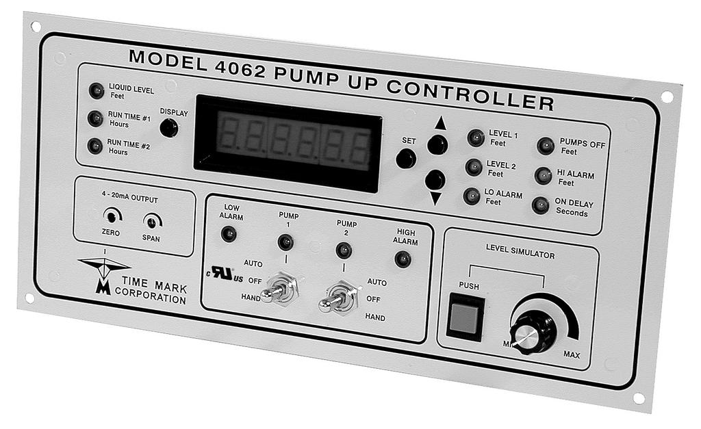Pump-Up Controller 4-20mA Input/Scalable Output Seal Fail Monitoring Duplex Pump Alternation Hand-Off-Auto Controls Dual Run-time Meters RS-485/Modbus Communications DESCRIPTION The Model 4062