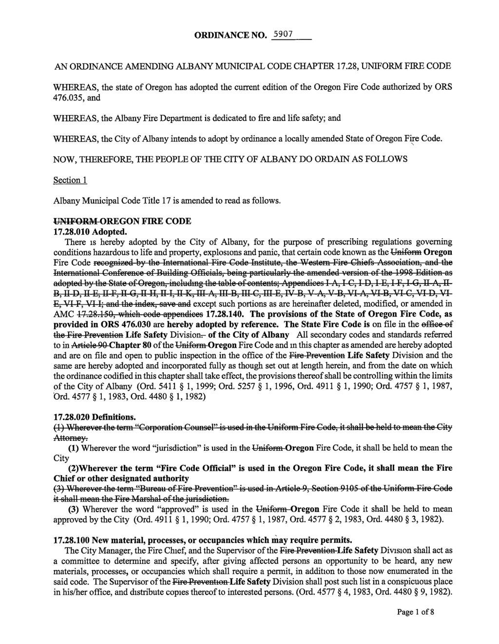 ORDINANCE NO, 5907 AN ORDINANCE AMENDING ALBANY MUNICIPAL CODE CHAPTER 17.