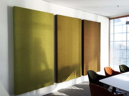 BuzziBlox Acoustic wall panels which tune a room in the speech spectrum range and especially the low to mid frequencies.