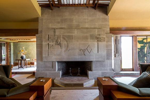 Wright liked to do total environments. For Hollyhock House, Aline Barnsdall commissioned furniture for the dining room and Living Room. The monumental sofas here, which are not easily moved.