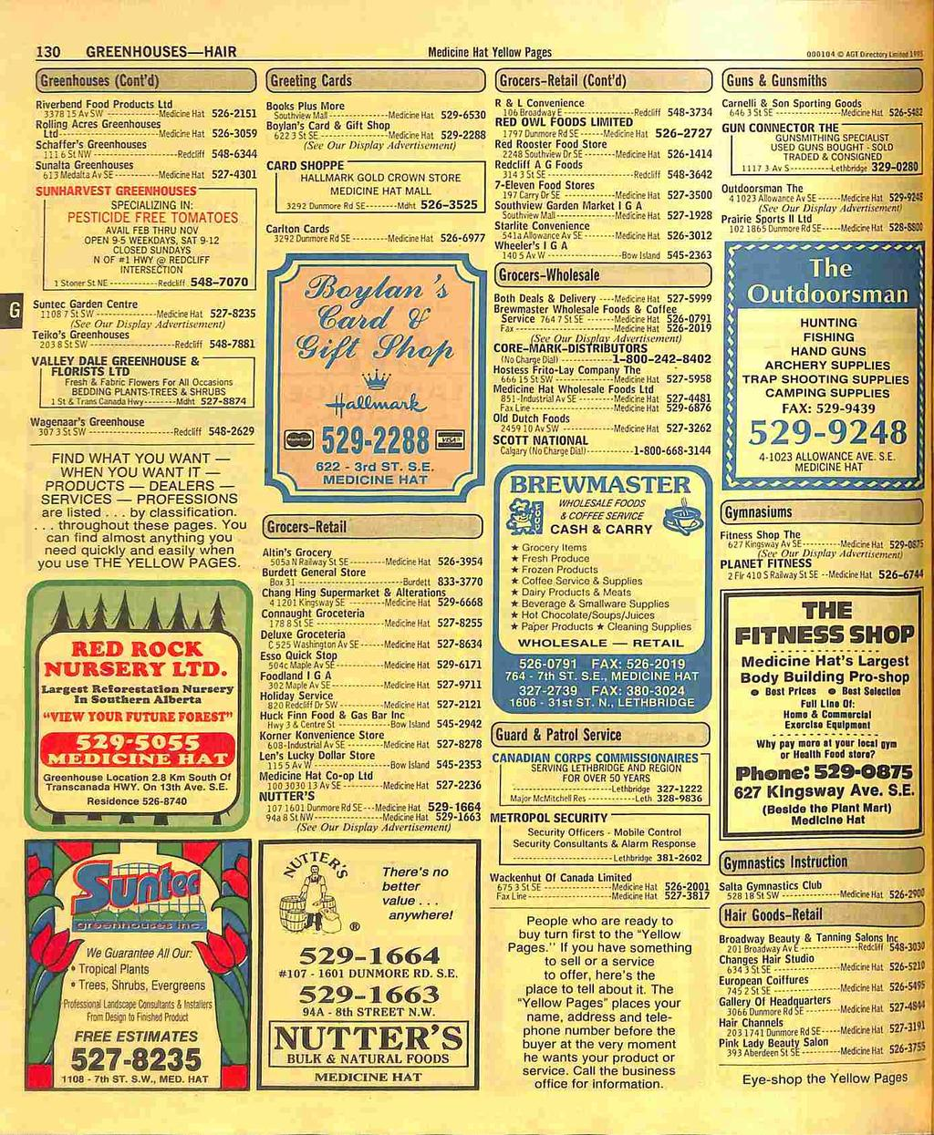 130 GREENHOUSES HAIR Medieine Hat Yellow Pages OliniU l C 151 R.