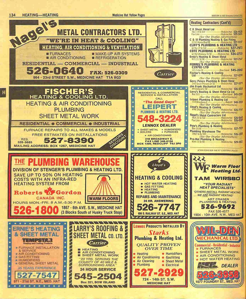 "134 HEATING HEATING Medicine Hat Yellow Pages DOOIM CtGT PKnouati!""! METAL CONTRACTORS LTD."