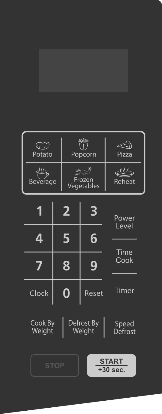 CONTROL PANEL MENU ACTION SCREEN Cooking time, power, indicators and clock time are displayed.