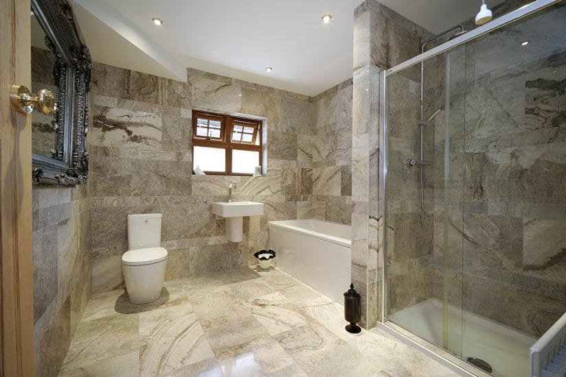 BATHROOM: Modern white bathroom suite comprising low flush wc, wash hand