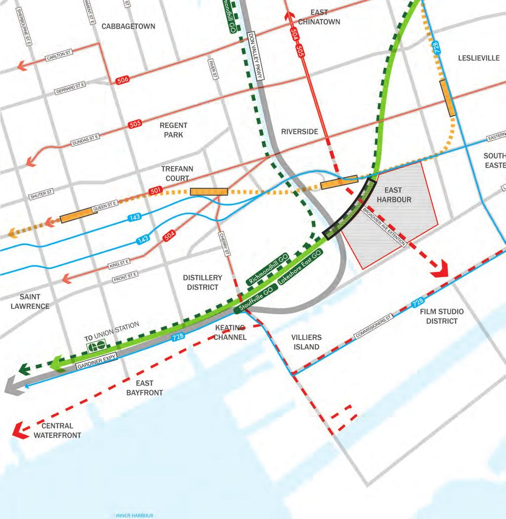 Mobility and Connectivity Transportation Network East Harbour will become a major multi-modal mobility hub.