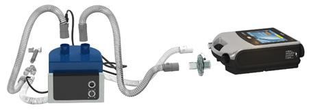 Attaching a humidifier 1. Connect a length of air tubing to the inspiratory port of the device. 2. Connect the other end of the air tubing to the inlet port of the humidifier. 3.