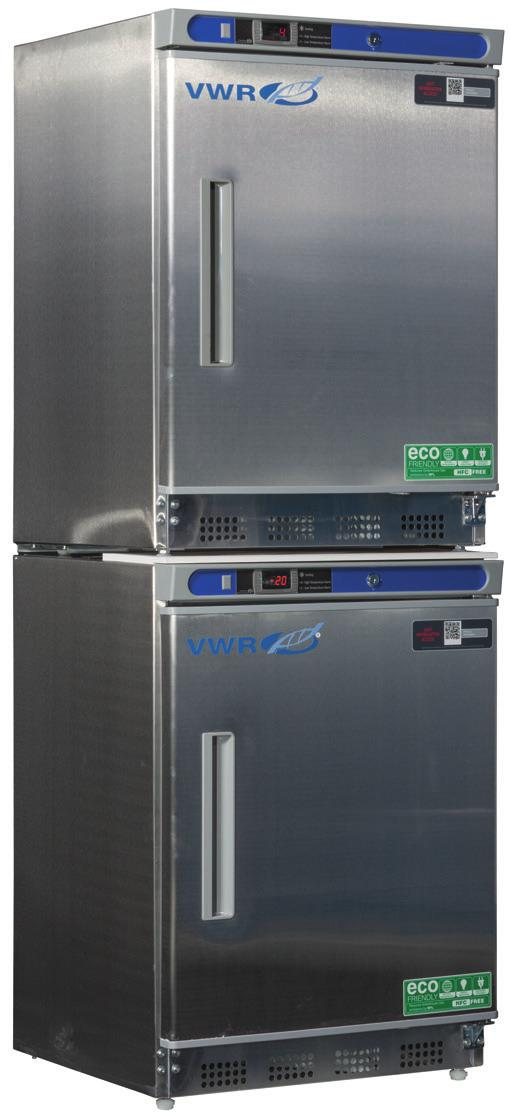 VWR SERIES SPACE SAVING REFRIGERATOR/FREEZER COMBOS WITH NATURAL REFRIGERANTS A variety of sizes and configurations are available to provide a solution where space is at a premium.