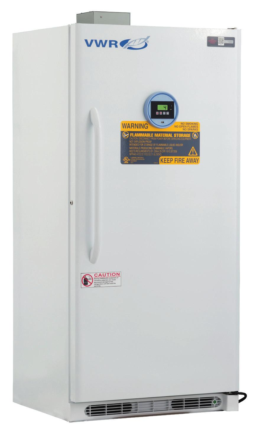 VWR SERIES FLAMMABLE REFRIGERATORS & FREEZERS 1 to 10 C [Refrigerator] -15 to -25 C [Freezer] No internal electrical components inside of unit Electrical compressor components sealed in vapor-proof
