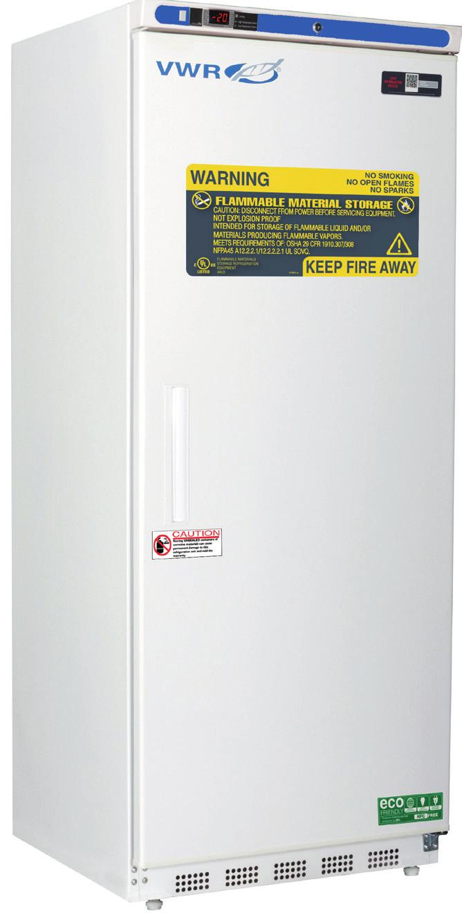 VWR SERIES FLAMMABLE REFRIGERATORS & FREEZERS WITH NATURAL REFRIGERANTS 1 to 10 C [Refrigerator] -15 to -25 C [Freezer] No internal electrical components inside of unit Electrical compressor