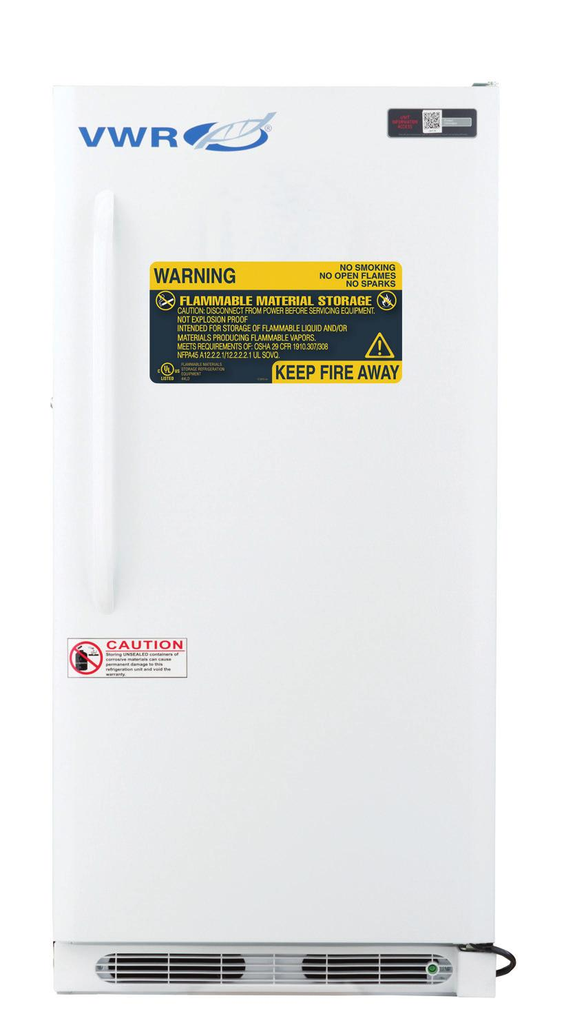 VWR STANDARD SERIES FLAMMABLE REFRIGERATORS & FREEZERS 1 to 10 C [Refrigerator] -15 to -25 C [Freezer] No internal electrical components inside of unit Electrical compressor components sealed in