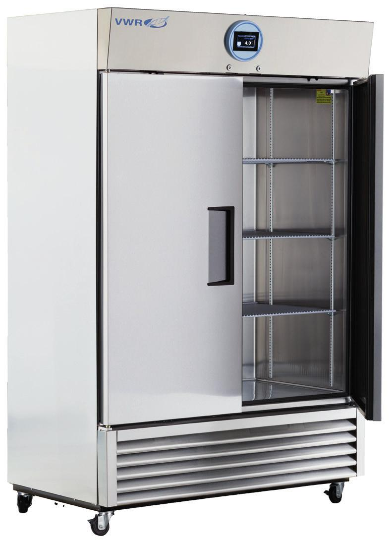 VWR PERFORMANCE SERIES STAINLESS STEEL LABORATORY REFRIGERATORS AND AUTO DEFROST FREEZERS WITH NATURAL REFRIGERANTS 1 to 10 C [Refrigerator] -15 to -25 C [Freezer] Uniform forced air Directional