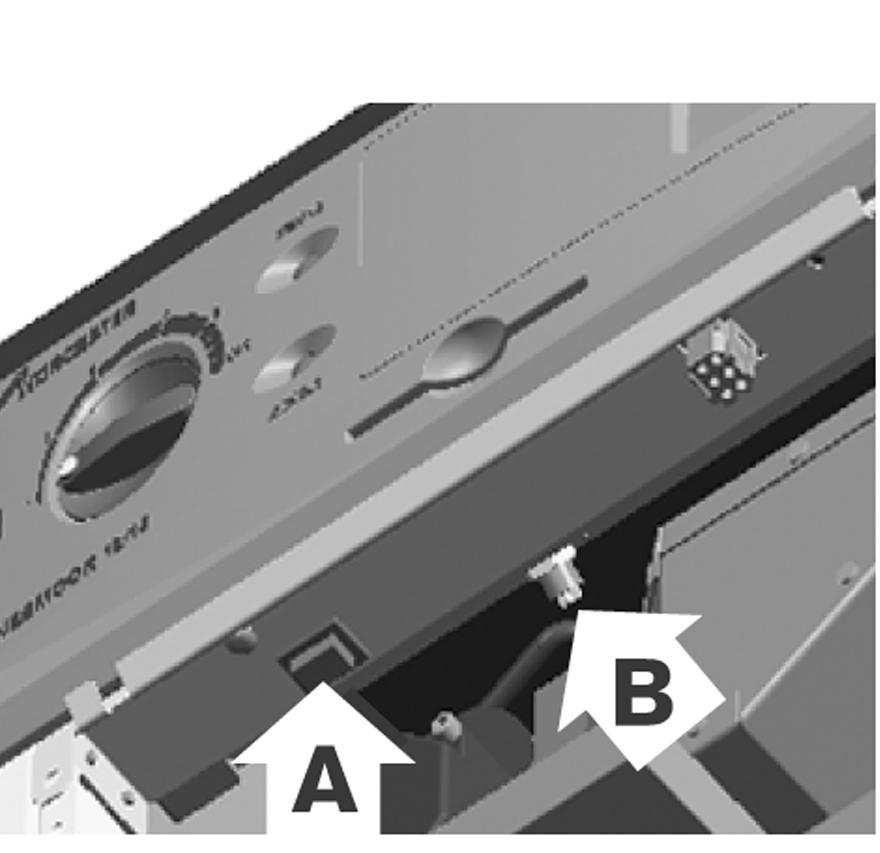 This lockout condition is indicated by the red lockout light illuminating on the fascia, as shown in Fig. 2. To cancel the burner lockout condition, remove the boiler front cover, as shown in Fig. 4.
